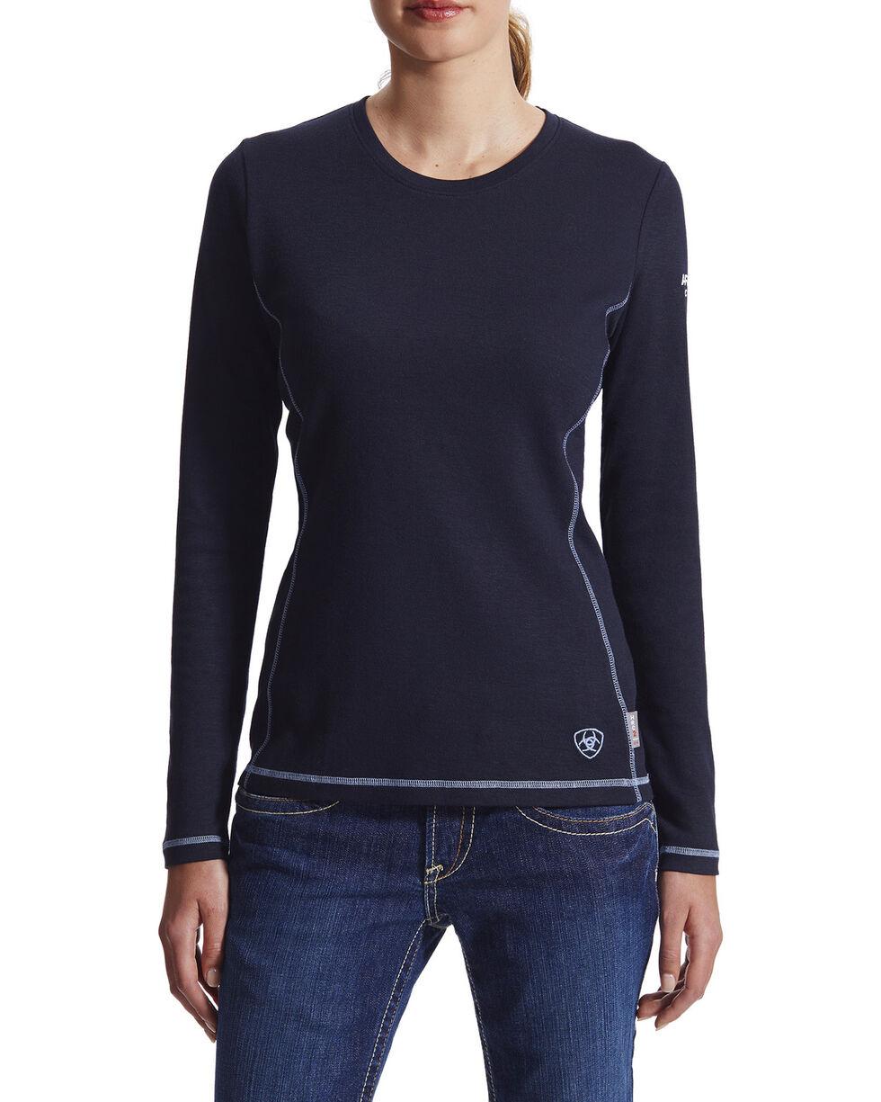 Ariat Women's Flame Resistant Polartec Powerdry Work Shirt, Navy, hi-res