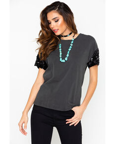 Ariat Women's Washed Jersey Shimmer Tee , Black, hi-res