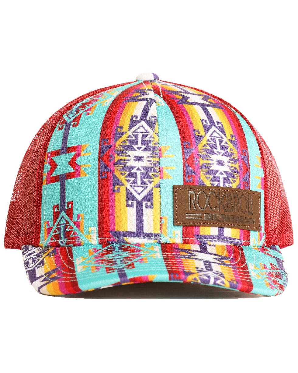 Rock & Roll Cowboy Men's Bright Aztec Print Mesh Cap, Dark Red, hi-res