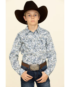 Cody James Boys' Jumpin Claims Paisley Print Long Sleeve Western Shirt , Blue, hi-res