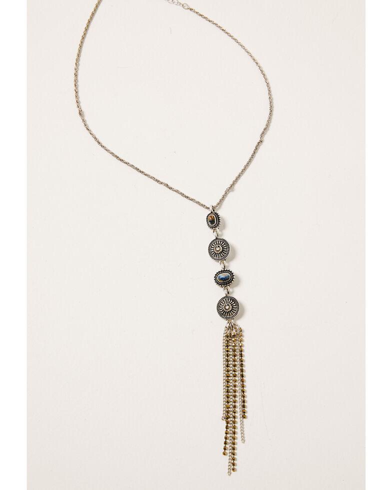 Shyanne Women's Claire Linear Multi Concho Fringe Necklace, Silver, hi-res