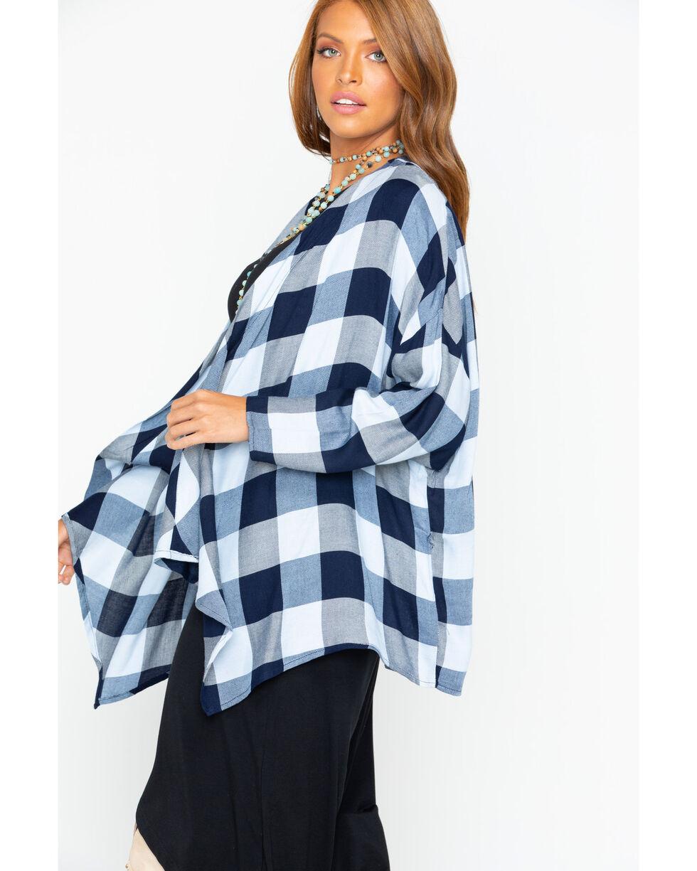 Ivory Love Women's Buffalo Plaid Drape Front Kimono , Navy, hi-res