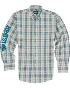 Resistol Men's Logo Long Sleeve Button Down Shirt, Multi, hi-res