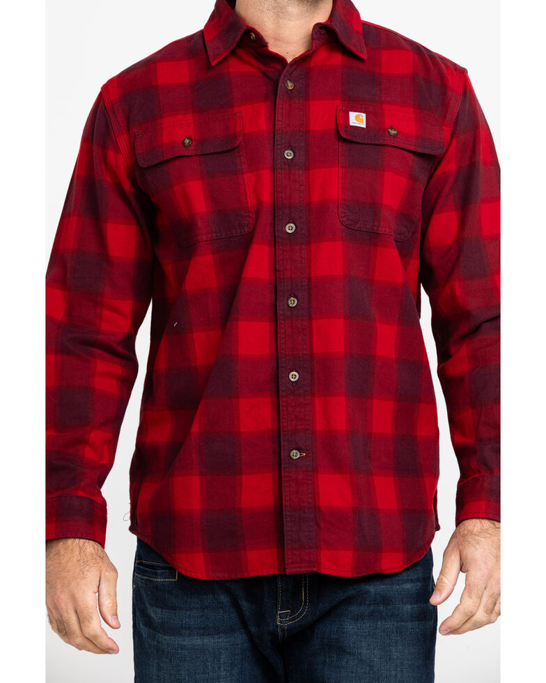 Carhartt Men's Red Hubbard Flannel Long Sleeve Work Shirt, Dark Red, hi-res