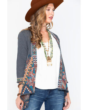 Johnny Was Women's Nala Knit Draped Cardigan , Charcoal, hi-res