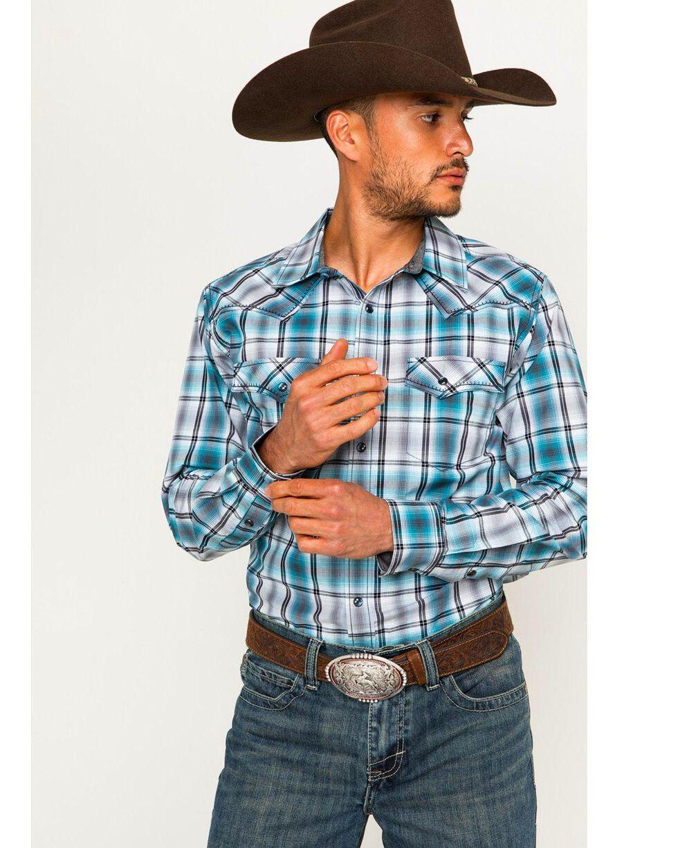Cody James® Men's Vendetta Plaid Long Sleeve Shirt, Blue, hi-res