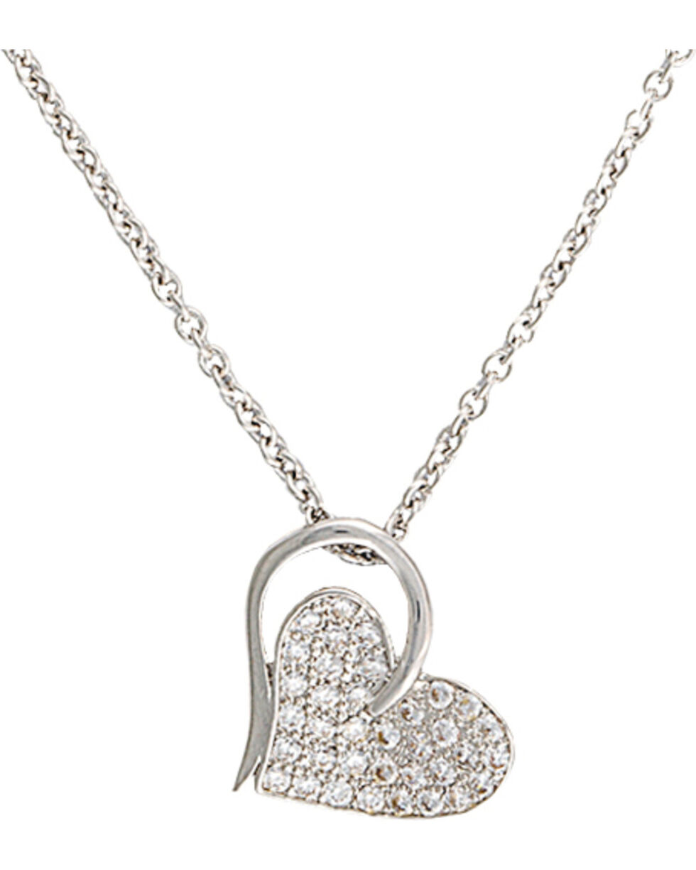 Montana Silversmiths Heart Print Necklace, Silver, hi-res
