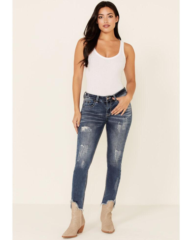Grace in LA Women's Horseshoe Cactus Bootcut Jeans, Medium Blue, hi-res
