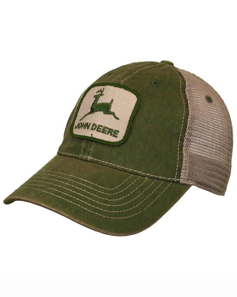 John Deere Men's Stonewashed Logo Patch Mesh Ball Cap , Ivory, hi-res