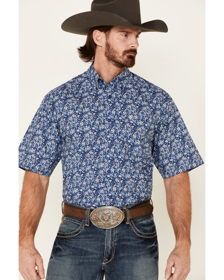 Ariat Men's Blue Fanes Floral Print Short Sleeve Western Shirt , Blue, hi-res