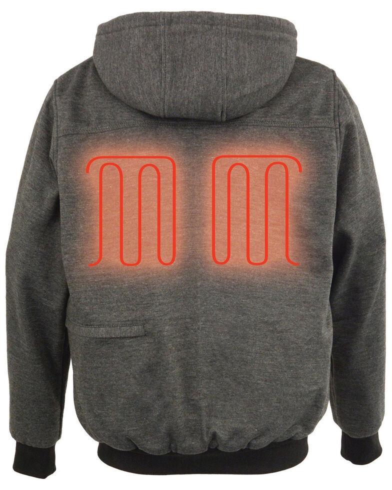 Milwaukee Leather Men's Zip Front Heated Hooded Sweatshirt , Grey, hi-res