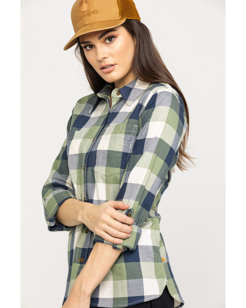 Carhartt Women's Green Fairview Plaid Shirt, Green, hi-res