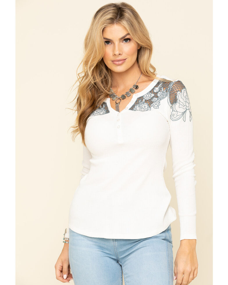 Idyllwind Women's Lace Henley Long Sleeve Top, Cream, hi-res