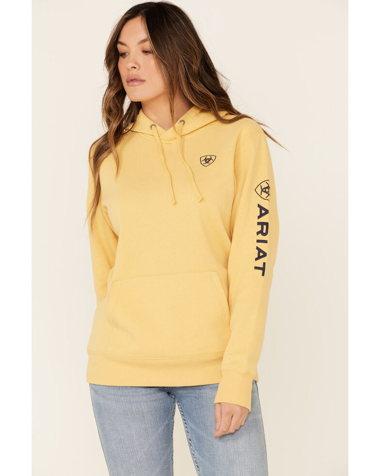 Ariat Women's Sleeve Logo Embroidered Hooded Sweatshirt , Dark Yellow, hi-res