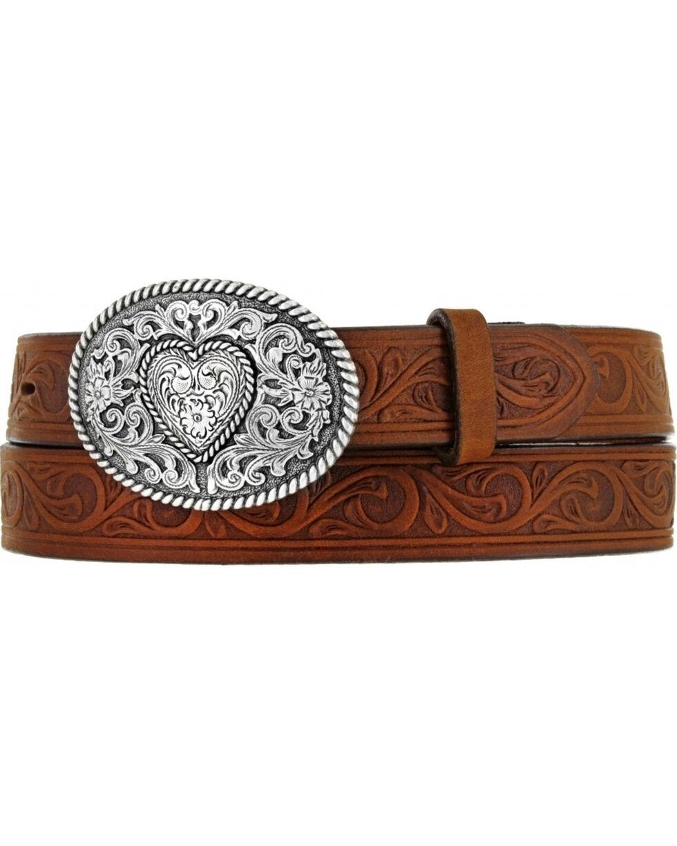 Justin Boots Girl's Western Scroll Heart Belt, Aged Bark, hi-res