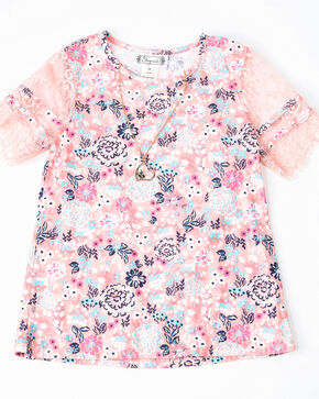 Shyanne Girls' Floral Print Knit Pull On Short Sleeve Shirt , , hi-res