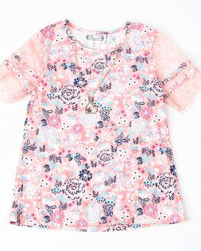 Shyanne Girls' Floral Print Knit Pull On Short Sleeve Shirt , Pink, hi-res