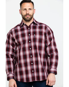 Tuf Cooper Men's Stretch Ombre Plaid Long Sleeve Western Shirt , Rust Copper, hi-res