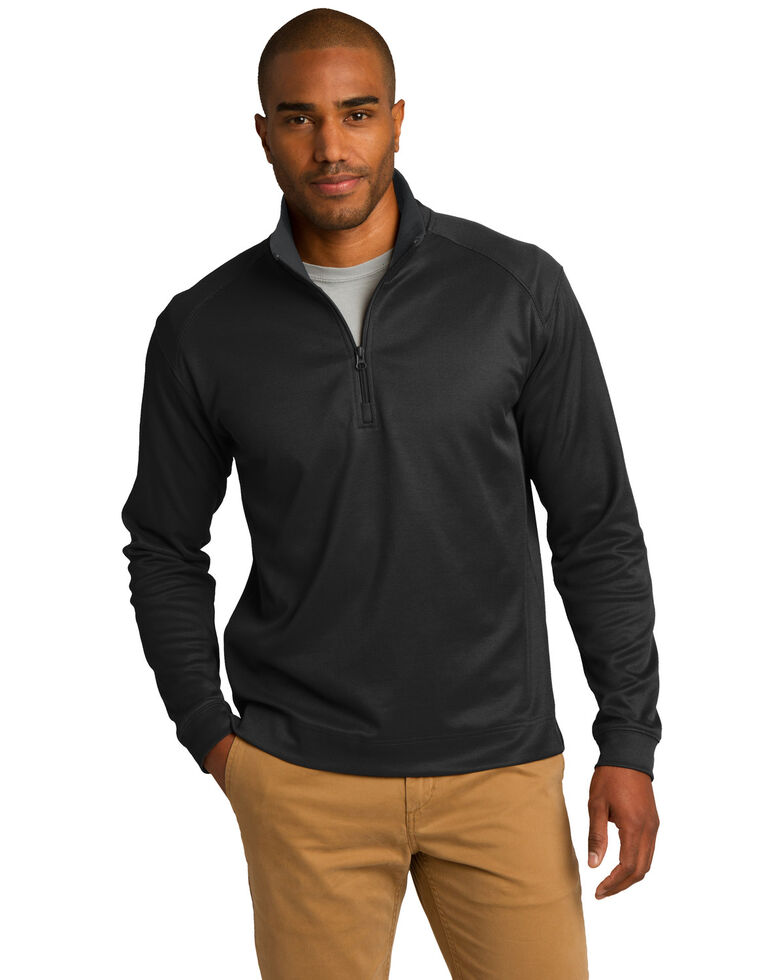 Port Authority Men's Black Virtual Texture 1/4 Zip Work Pullover Sweatshirt , Multi, hi-res