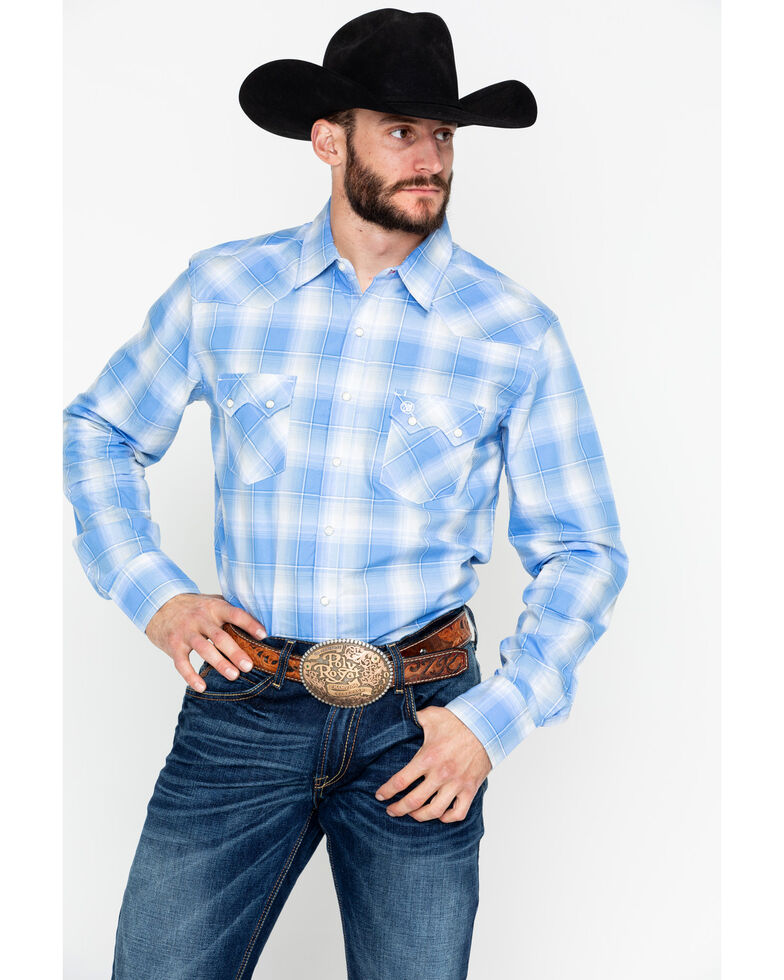 Wrangler Retro Men's Plaid Long Sleeve Western Shirt , Blue, hi-res