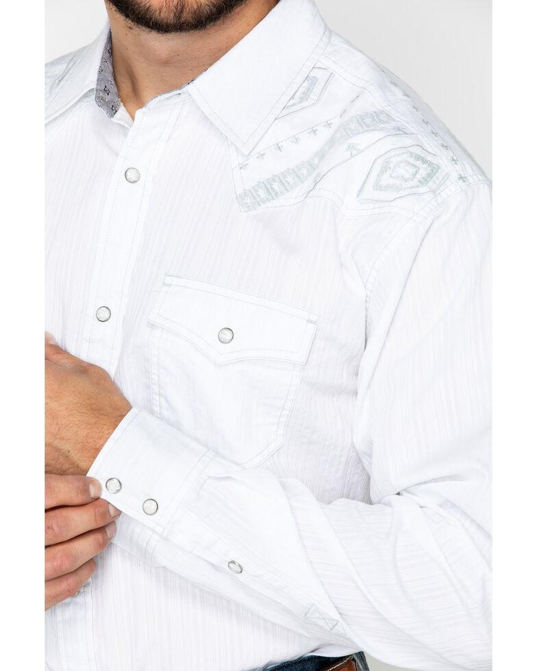 Moonshine Spirit Men's Totem Pole Solid Aztec Yolk Long Sleeve Western Shirt, White, hi-res