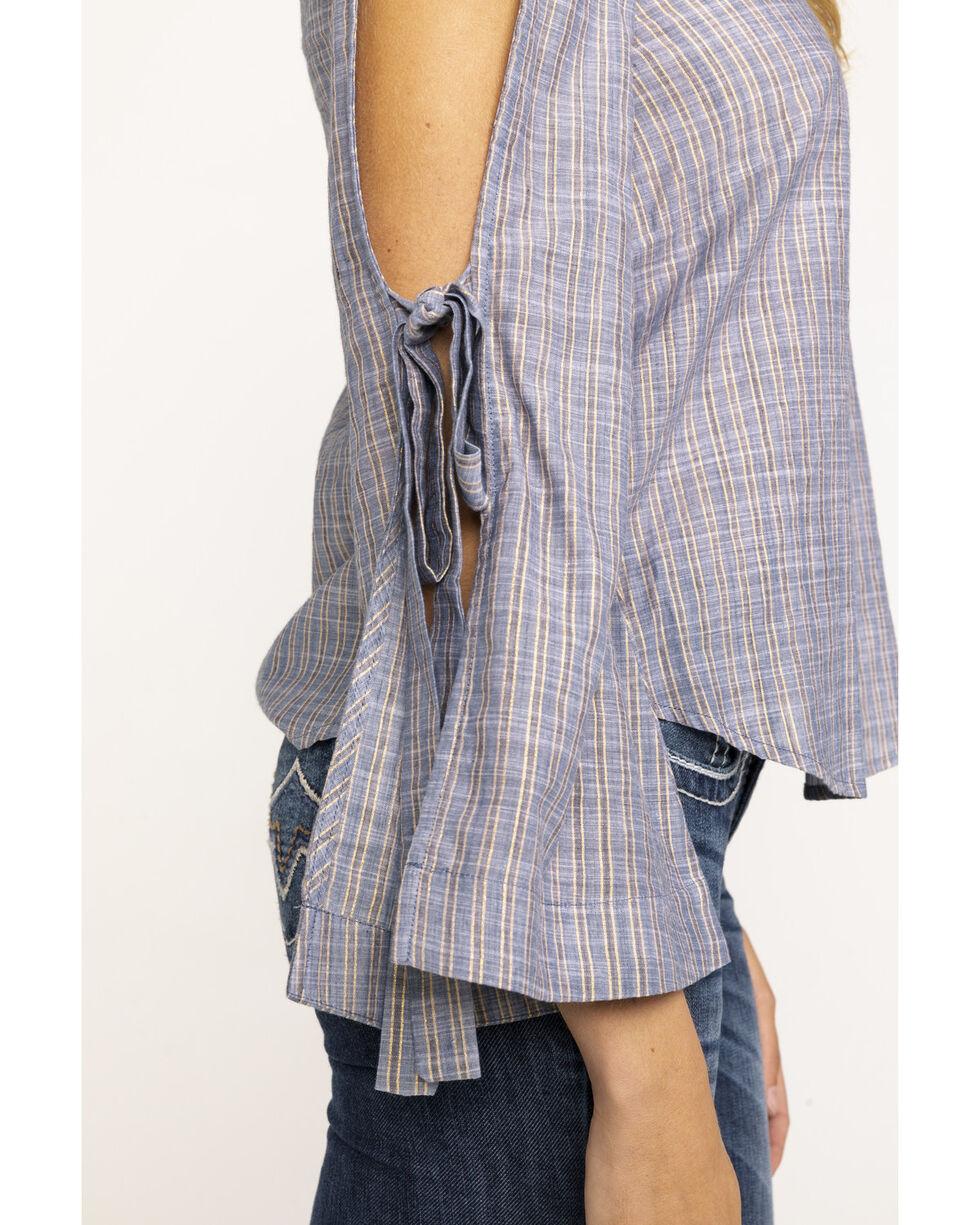 Shyanne Women's Solid Lurex Bell Tie Sleeve Top , Blue, hi-res