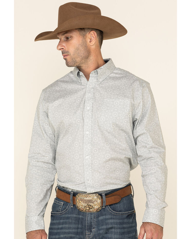 Cody James Men's Hemlock Medallion Print Long Sleeve Western Shirt , Grey, hi-res