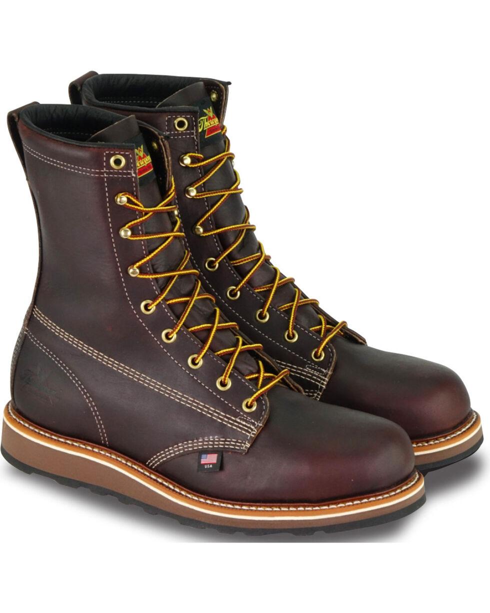 """Thorogood Men's 8"""" American Heritage Wedge Sole Boot - Steel Toe, Dark Brown, hi-res"""