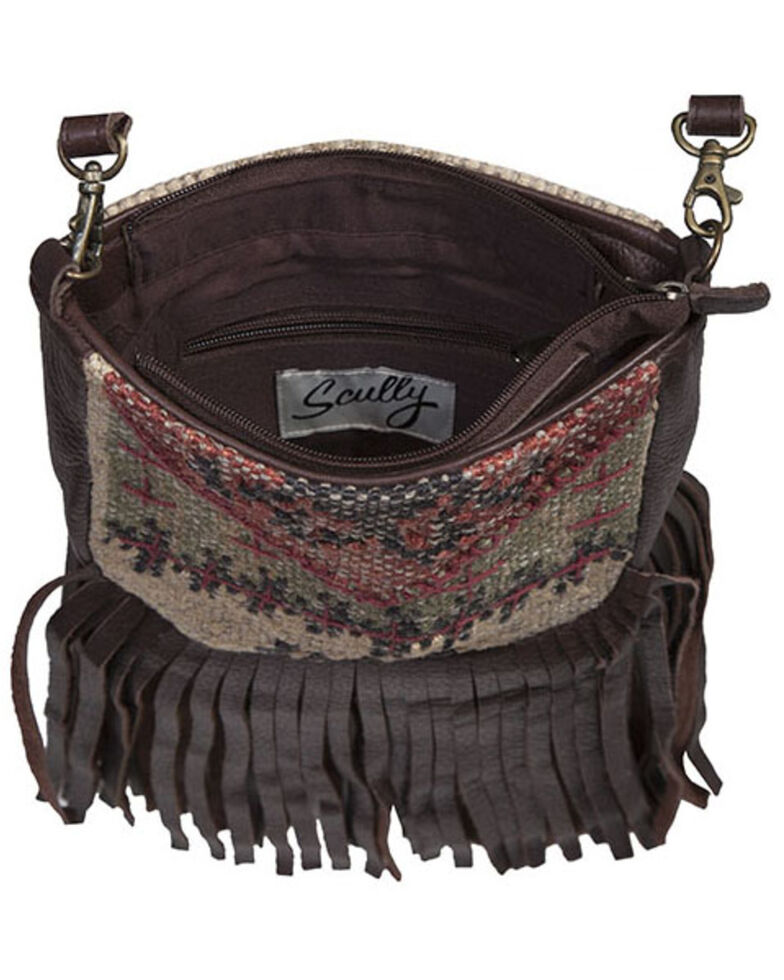 Scully Women's Wool Leather Crossbody Bag, Brown, hi-res