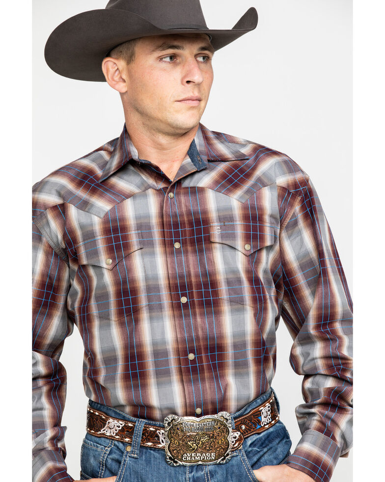 Stetson Men's Mahogany Ombre Plaid Long Sleeve Western Shirt , Brown, hi-res