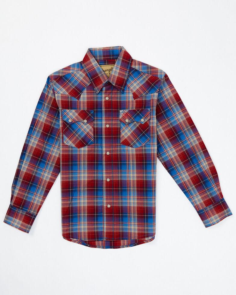 Wrangler Retro Boys' Red Plaid Long Sleeve Snap Western Shirt , Red, hi-res