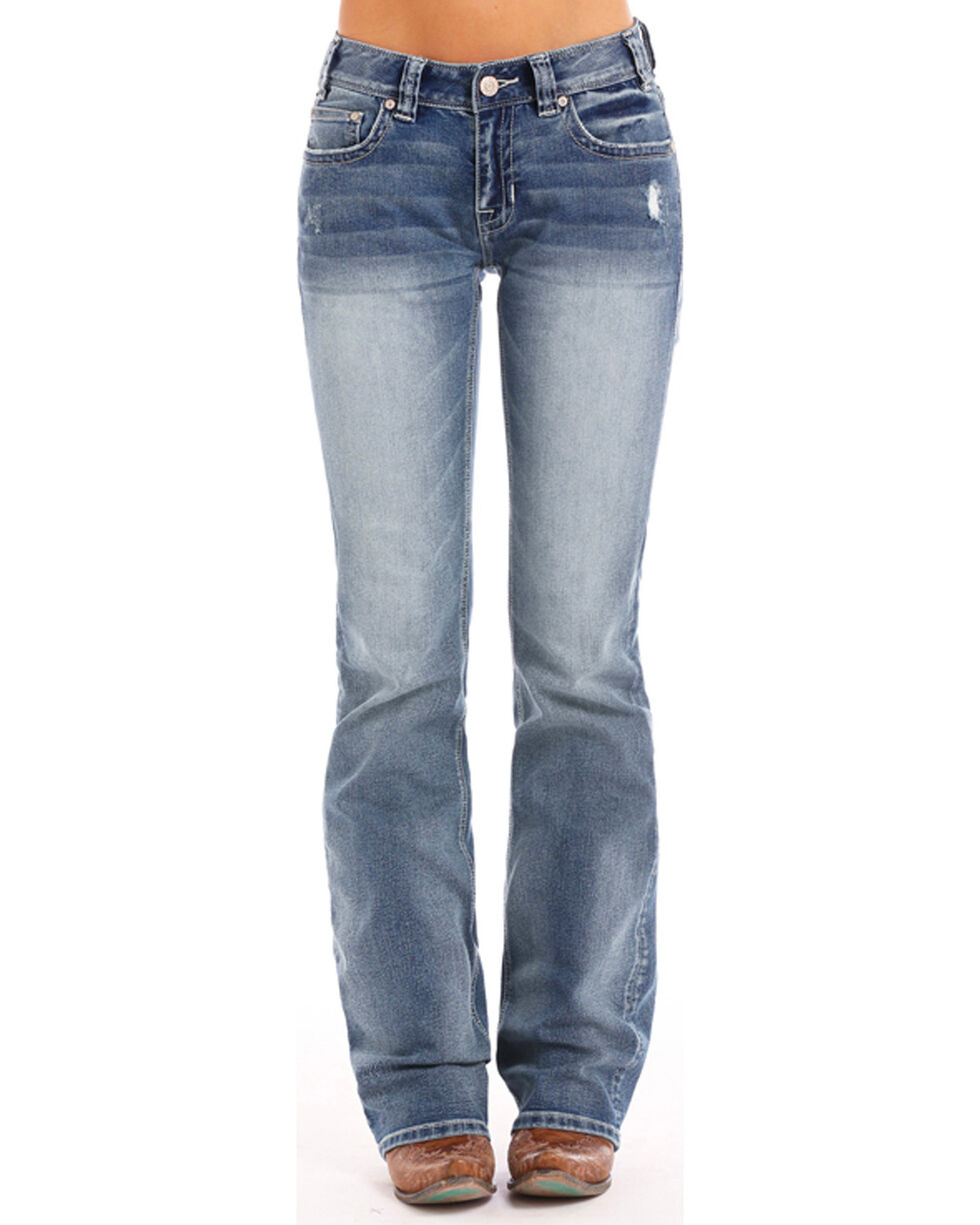 Rock & Roll Cowgirl Women's Extra Stretch Boot Cut Jeans , Blue, hi-res