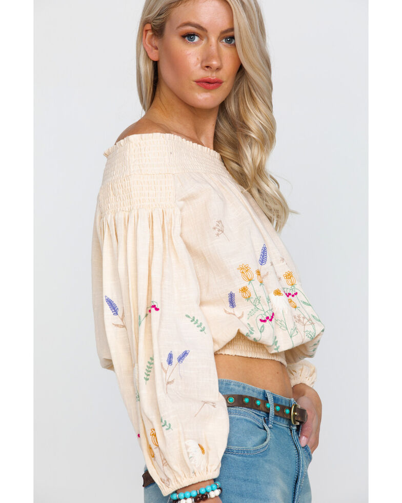 Rock & Roll Cowgirl Women's Floral Embroidered Off The Shoulder Top, Natural, hi-res