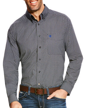 Ariat Men's Borden Classic Fit Poplin Print Button Down Shirt, Black, hi-res