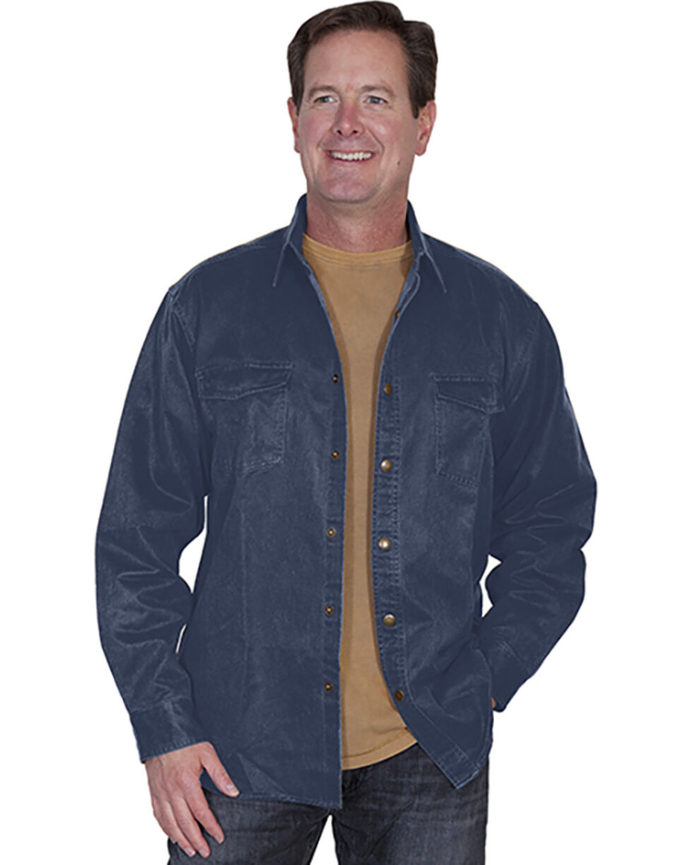 Scully Men's Moleskin Overshirt, Blue, hi-res