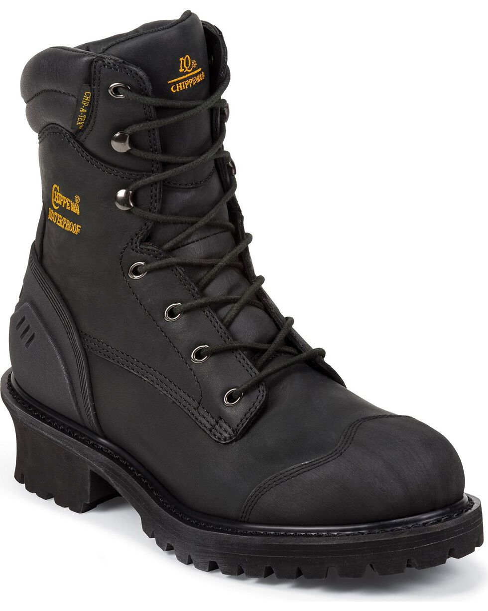 Chippewa Men's Insulated Composite Toe Logger Work Boots, Black, hi-res