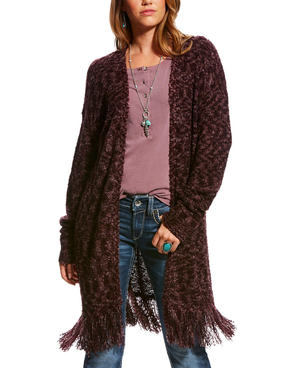 Ariat Women's Loa Marled Long Sleeve Knit Duster Cardigan, Mauve, hi-res