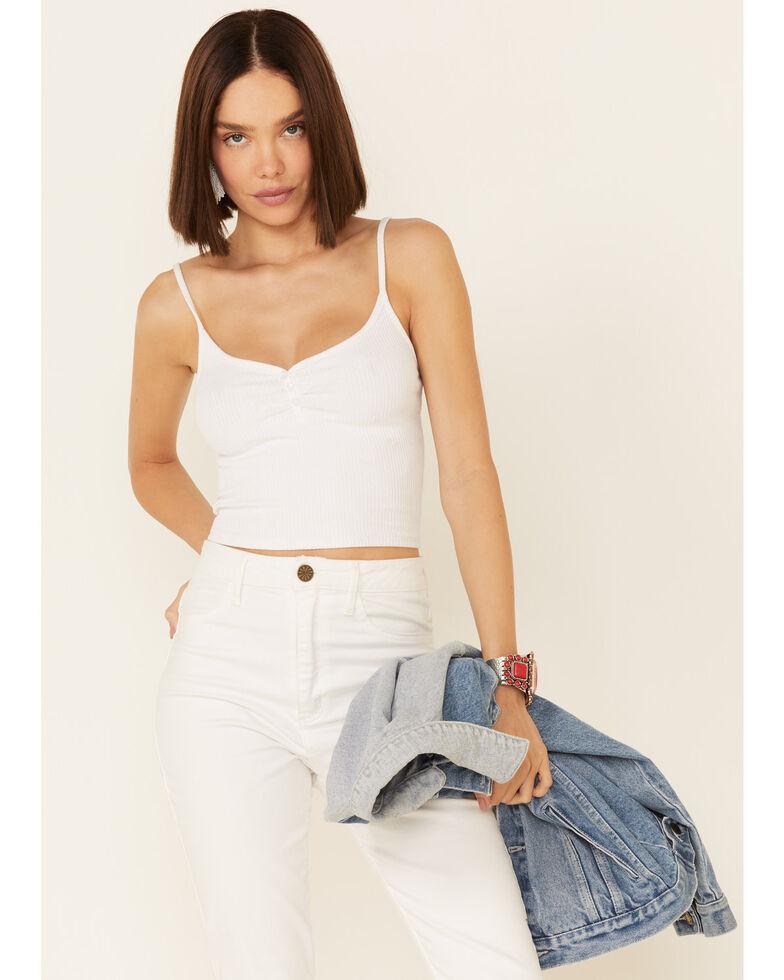 Luna Chix Women's Rib-Knit V-Neck Crop Cami , White, hi-res