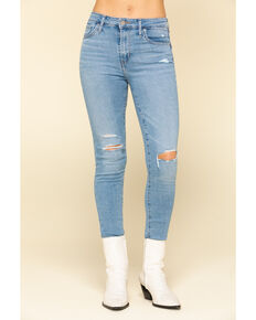 Levi's Women's 721 Light Wash High Rise Distressed Skinny Jeans , Blue, hi-res