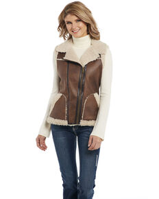 Cripple Creek Women's Faux Shearling Zip Vest , Brown, hi-res