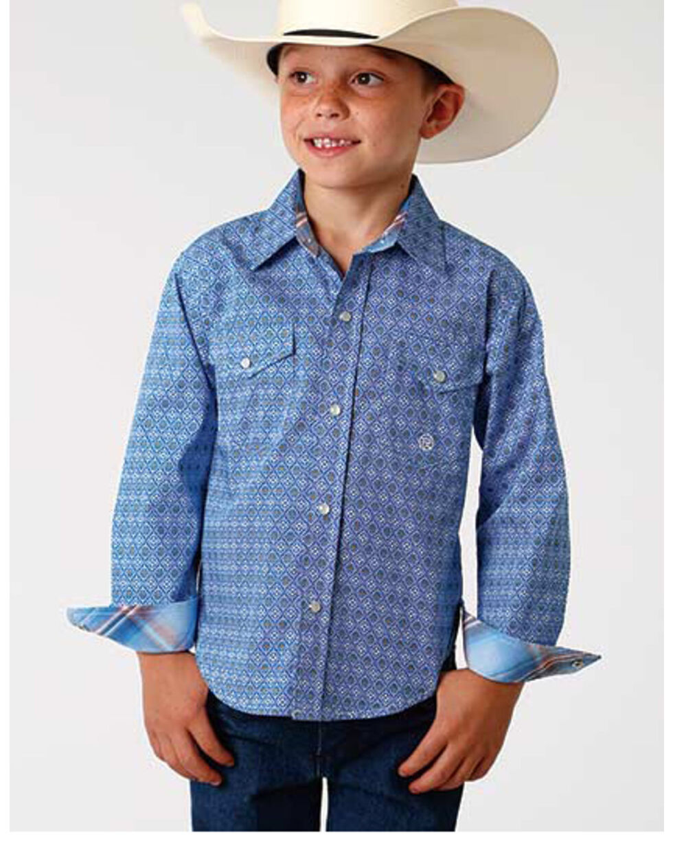 Roper Boys' Amarillo Blue Geo Print Long Sleeve Western Shirt , Blue, hi-res
