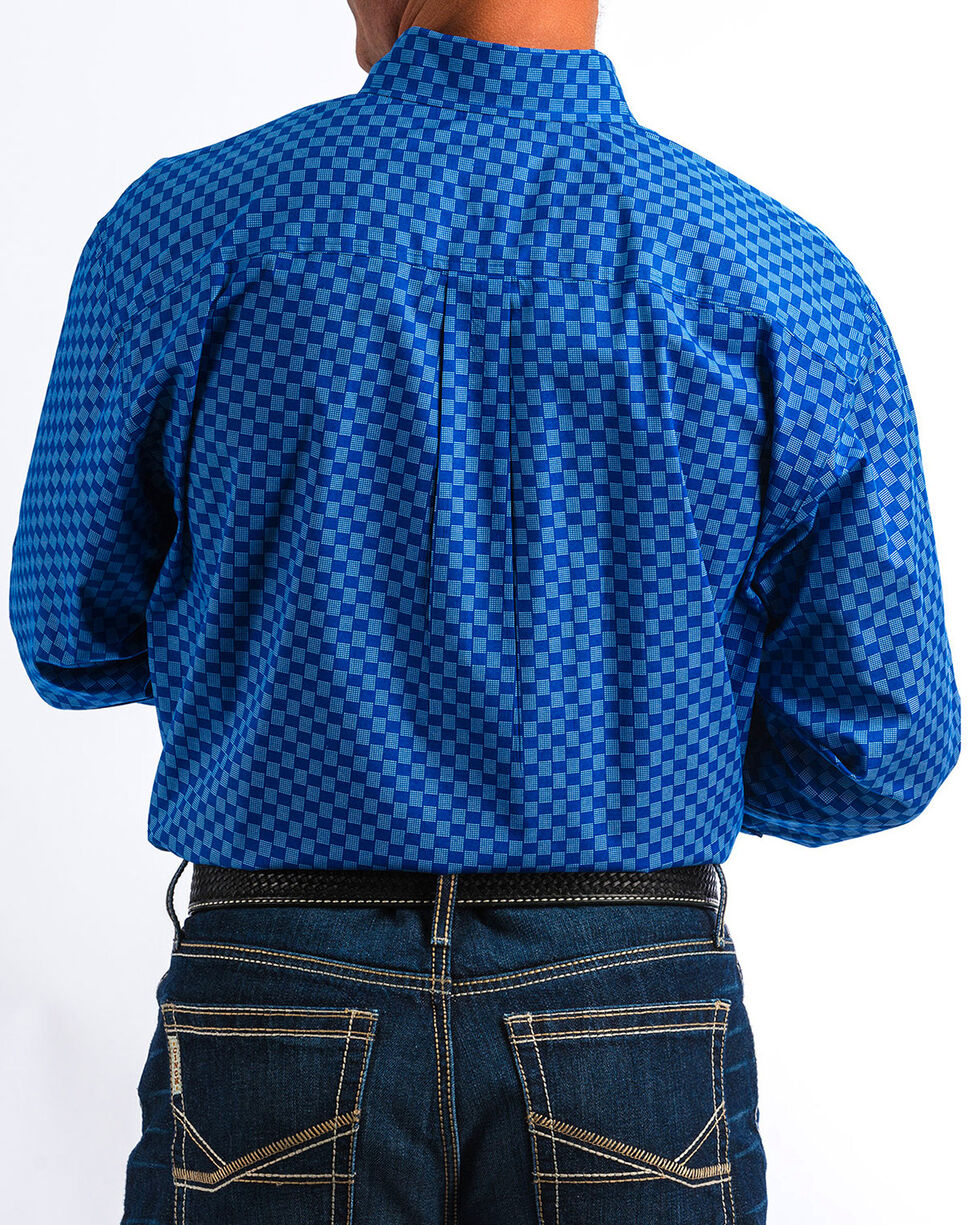 Cinch Men's Blue Dotted Square Print Western Shirt , Blue, hi-res