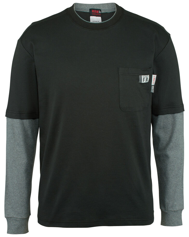 Wolverine Men's FR Black Miter Long Sleeve Work T-Shirt , Black, hi-res