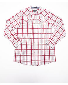 Cody James Boys' Far Country Plaid Long Sleeve Western Shirt , Maroon, hi-res