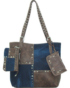 Savana Women's Faux Leather 3 in 1 Tote , Blue, hi-res