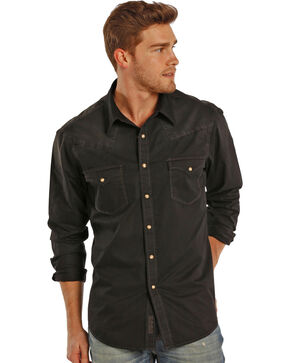 Rock & Roll Cowboy Men's Solid Two Pocket Long Sleeve Shirt, Black, hi-res