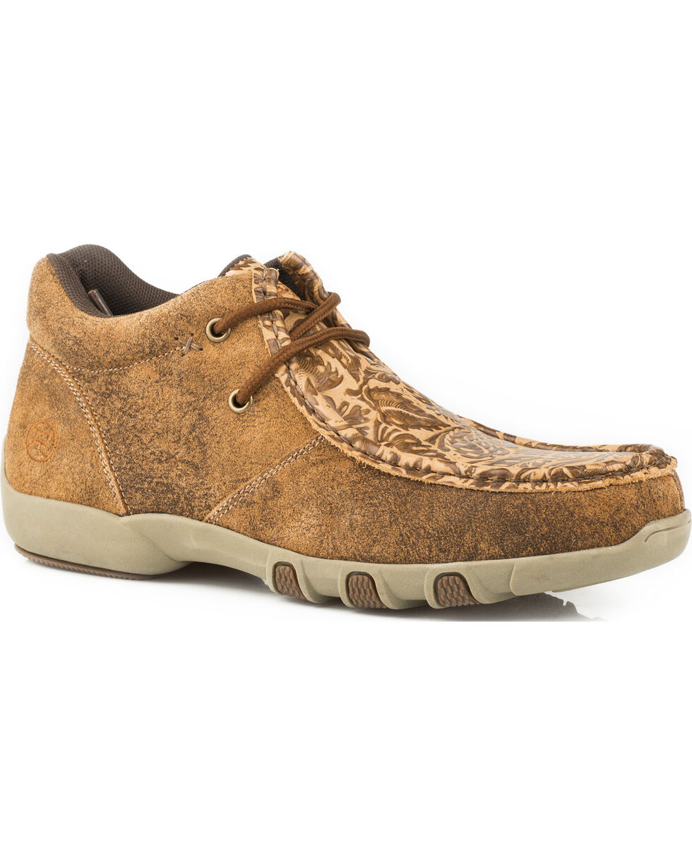 Roper Women's Suzi Tan Embossed Driving Moc Chukka - Moc Toe, Tan, hi-res