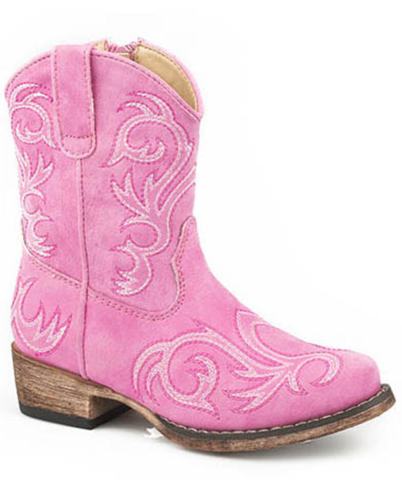 Roper Girls' Allover Embroidery Western Boots - Snip Toe, Pink, hi-res