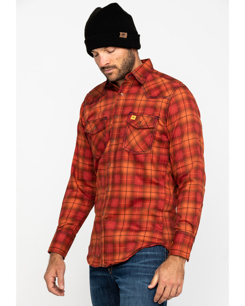 Wrangler 20X Men's Orange Plaid FR Long Sleeve Western Shirt , Orange, hi-res