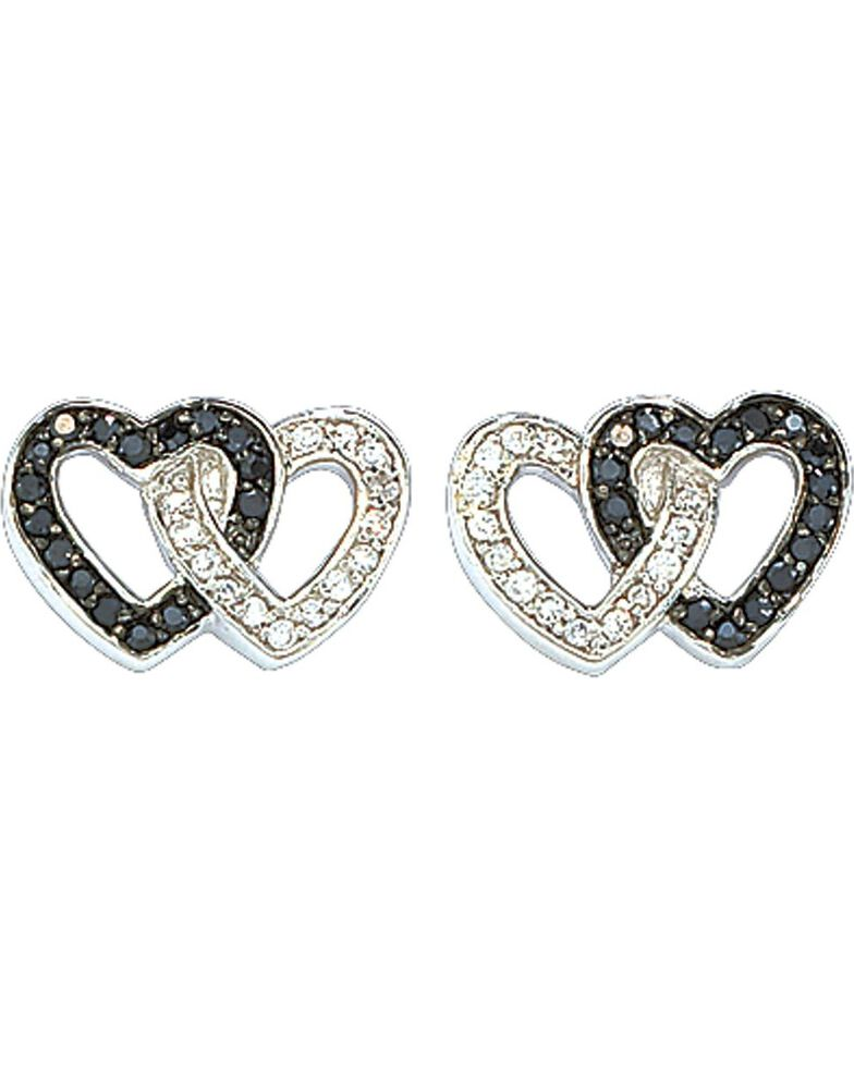 Montana Silversmiths Women's Crystal Double Heart Earrings, Silver, hi-res